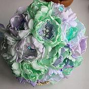 Свадебный салон ручной работы. Ярмарка Мастеров - ручная работа Свадебный брошь-букет из атласа. Мятный букет. Handmade.