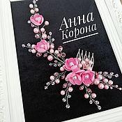 Гребень ручной работы. Ярмарка Мастеров - ручная работа Гребень с цветами. Розовый.. Handmade.