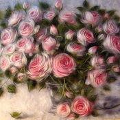"Картины и панно handmade. Livemaster - original item Картина из шерсти ""Розовый букет"". Handmade."