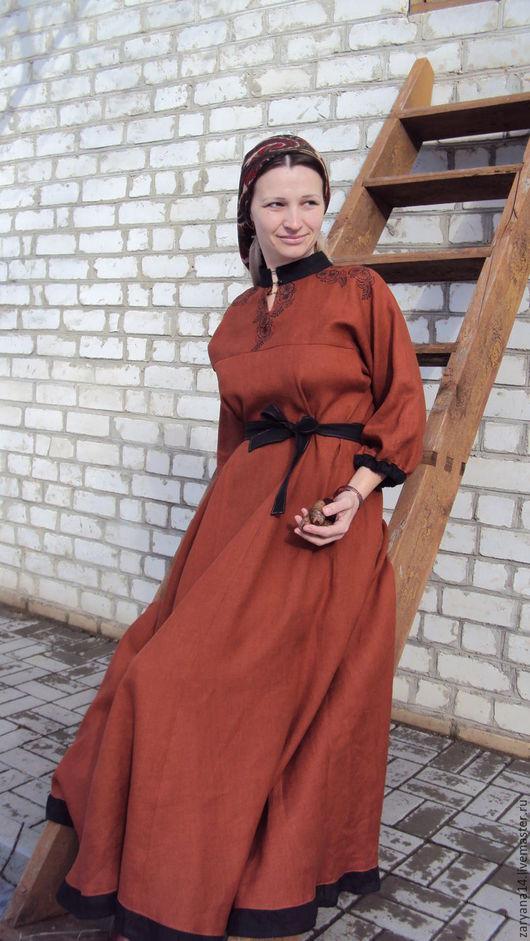 Платья ручной работы. Ярмарка Мастеров - ручная работа. Купить Платье с набойкой и стойкой. Handmade. Коричневый, народная одежда