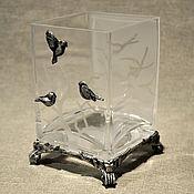 """Для дома и интерьера ручной работы. Ярмарка Мастеров - ручная работа Прозрачная ваза  """"Зимний пейзаж"""". Handmade."""