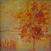 """Картины и панно ручной работы. Ярмарка Мастеров - ручная работа Картина маслом """"Янтарный закат"""" (пейзаж на большом холсте). Handmade."""
