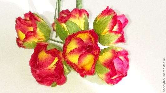 Открытки и скрапбукинг ручной работы. Ярмарка Мастеров - ручная работа. Купить Розы - круглые бутоны красно-желтые. Handmade. Цветы