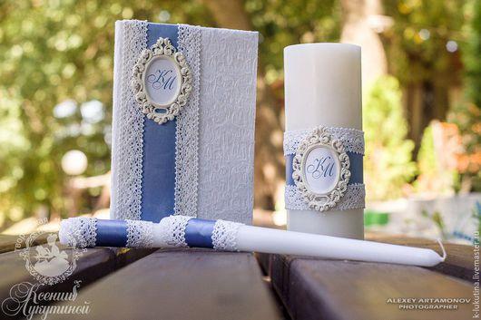 Свадебные аксессуары ручной работы. Ярмарка Мастеров - ручная работа. Купить Папка для свидетельства о браке и свадебные свечи. Handmade. Синий