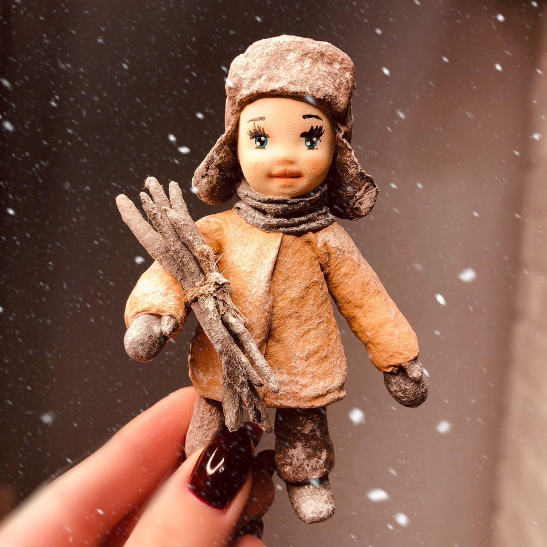 Ватная елочная игрушка Мальчишка с хворостом, Куклы и пупсы, Москва,  Фото №1