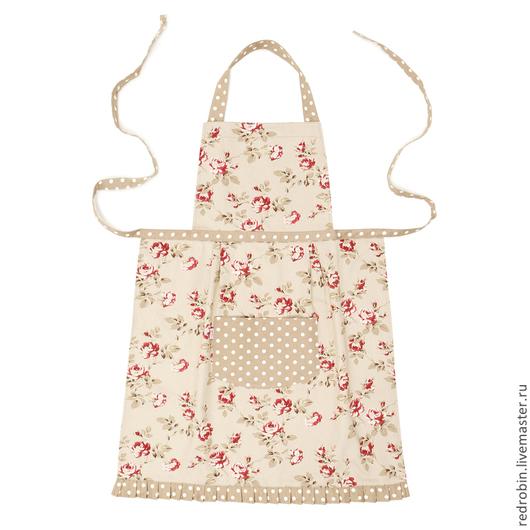 """Кухня ручной работы. Ярмарка Мастеров - ручная работа. Купить Фартук """"Люсиль"""" (мелкая розочка). Handmade. Бордовый, стильный фартук"""