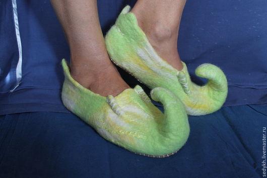 Обувь ручной работы. Ярмарка Мастеров - ручная работа. Купить Тапочки эльфийские. Handmade. Домашние тапочки, эльфийские, собачий пух