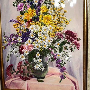 Картины и панно ручной работы. Ярмарка Мастеров - ручная работа Картина вышитая лентами. Handmade.