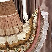 Одежда ручной работы. Ярмарка Мастеров - ручная работа Кремово-бежевая юбка многоярусная,длинная в стиле Бохо-Прованс.. Handmade.