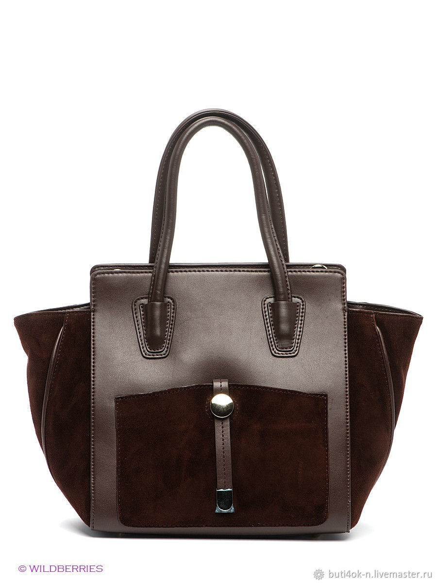 c00834ec7 Buy Bag made of genuine leather and Vintage Handbags & Purses. Bag made of  genuine leather and suede brown. Italy ...