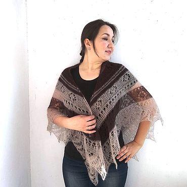 Accessories handmade. Livemaster - original item Downy shawl coffee, knitted openwork scarf. Handmade.