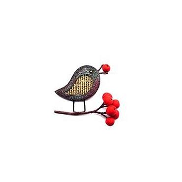 """Украшения ручной работы. Ярмарка Мастеров - ручная работа брошь """"Птичка на рябине"""" лён. Handmade."""