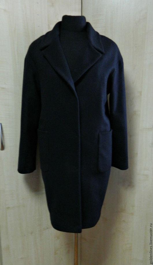 Верхняя одежда ручной работы. Ярмарка Мастеров - ручная работа. Купить пальто оверсайз с накладными карманами. Handmade. Тёмно-синий