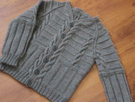 Одежда для мальчиков, ручной работы. Ярмарка Мастеров - ручная работа. Купить Кардиган для мальчика из альпаки. Handmade. Серый, вязаная одежда