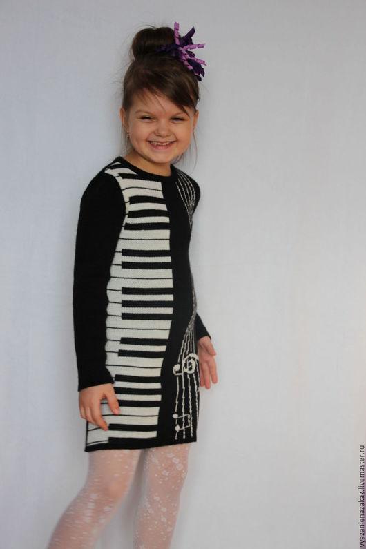 """Одежда для девочек, ручной работы. Ярмарка Мастеров - ручная работа. Купить Платье """"Пианино"""". Handmade. Чёрно-белый, вязаное платье"""