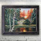 """Картины и панно ручной работы. Ярмарка Мастеров - ручная работа Картина масло холст """"Закат в лесу"""". Handmade."""