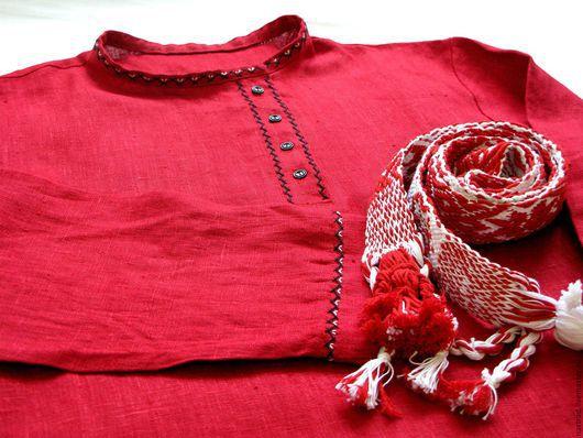 Одежда ручной работы. Ярмарка Мастеров - ручная работа. Купить Косоворотка льняная. Handmade. Ярко-красный, народный стиль