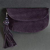 Сумки и аксессуары handmade. Livemaster - original item Purple clutch with Swarovski brush. Handmade.