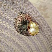 Украшения handmade. Livemaster - original item Brooch-needle Sea Shell Angaria and natural Pearls.. Handmade.