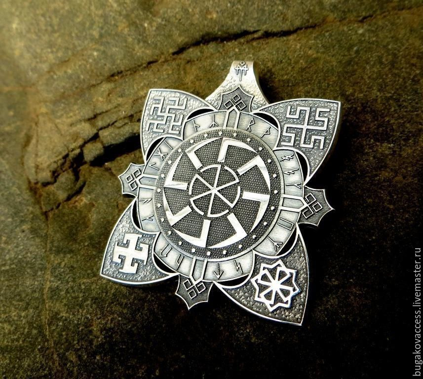 Slavic amulet with a svetoch and runes from silver of 925, Pendants, Moscow,  Фото №1
