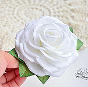handmade. Livemaster - original item Hair clip with a white rose