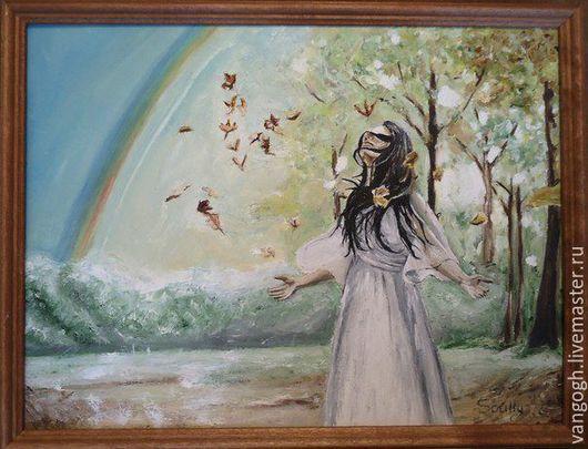 Люди, ручной работы. Ярмарка Мастеров - ручная работа. Купить Картина маслом Осень. Handmade. Осень, осенние листья