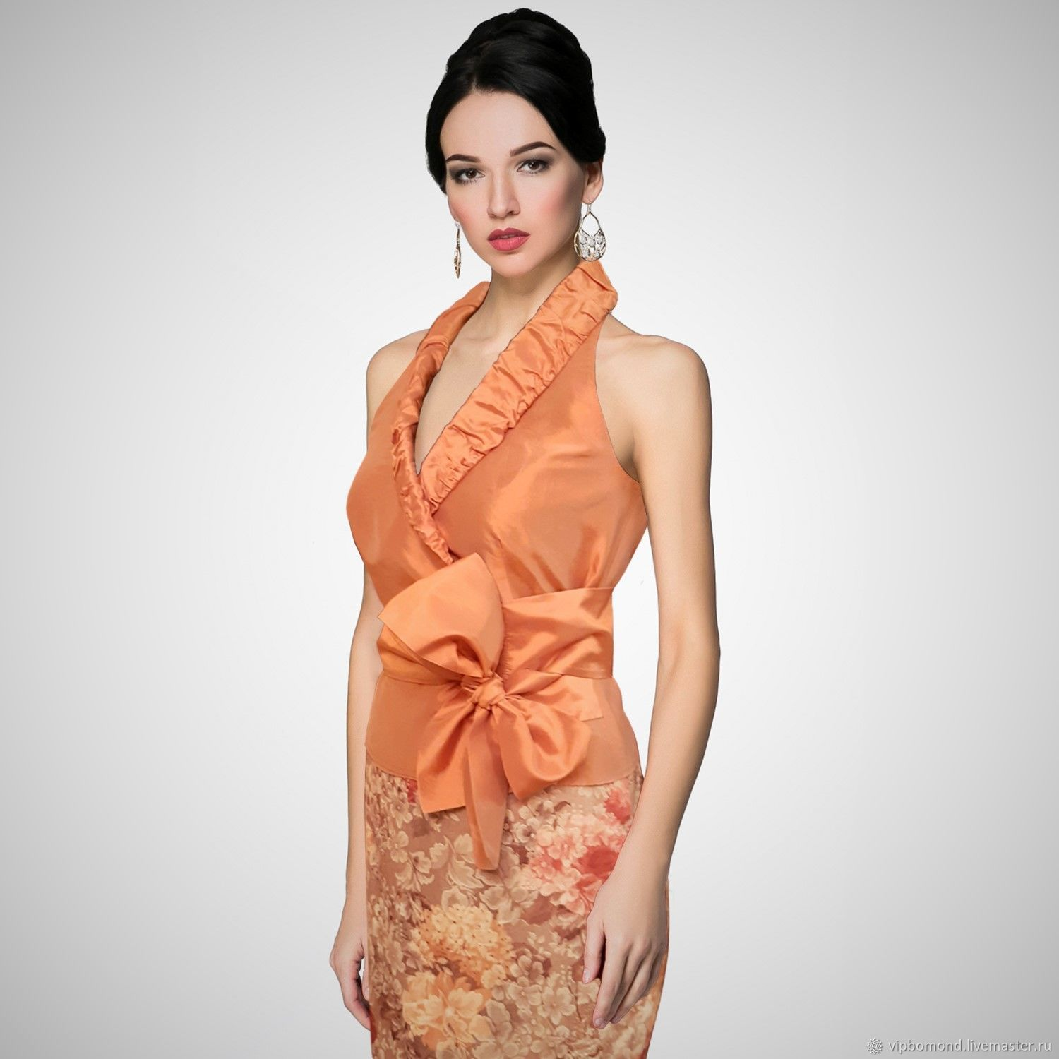 Designer blouse made of silk taffeta with a bow, Blouses, Chelyabinsk,  Фото №1