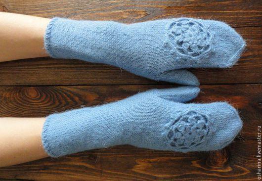 Варежки, митенки, перчатки ручной работы. Ярмарка Мастеров - ручная работа. Купить Скидка 20% Варежки ...Blue.... Handmade. Голубой