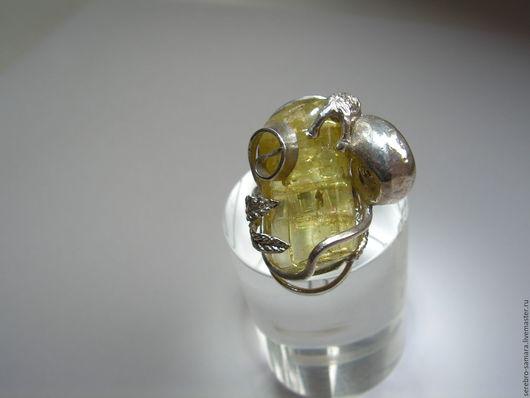 Кольца ручной работы. Ярмарка Мастеров - ручная работа. Купить Кольцо с гелиодором серебряное.. Handmade. Желтый, серебро