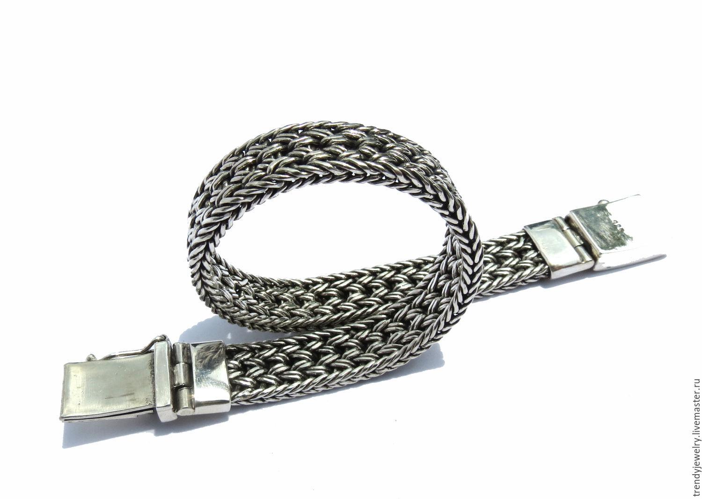 Мужской браслет Плетенка из серебра 925 пробы