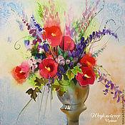 """Картины и панно ручной работы. Ярмарка Мастеров - ручная работа Батик панно """"Полевые цветы в вазе"""". Handmade."""