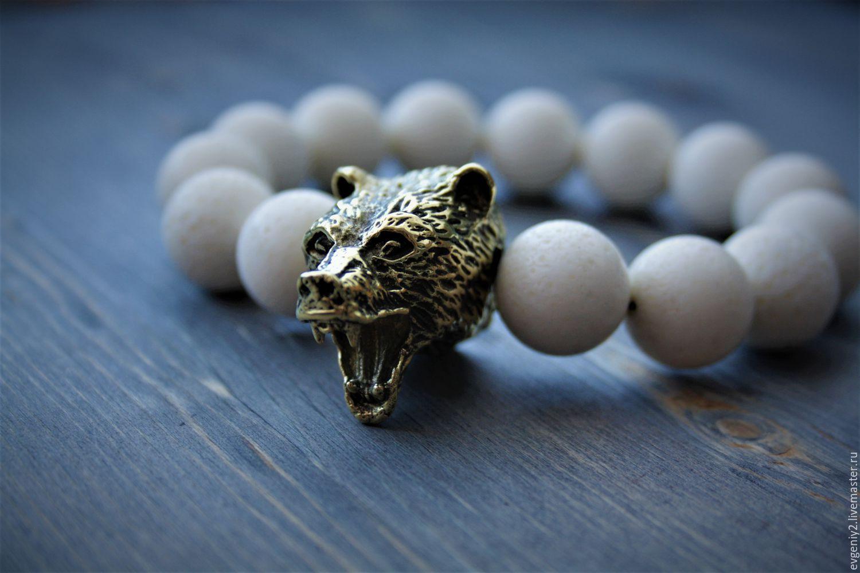 Мощный браслет из натурального камня и бронзы, Браслеты, Волгоград, Фото №1