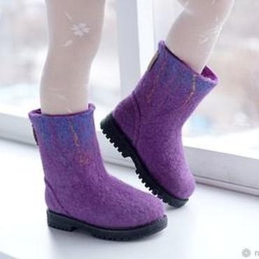 Footwear handmade. Livemaster - original item Felted boots for girls Northern lights -2. Handmade.