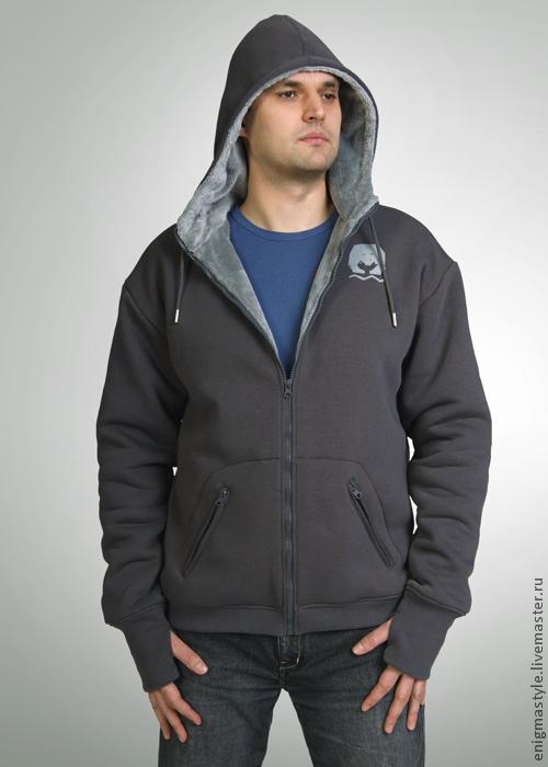 Grey fur hoodie, warm men's hoodie, Sweatshirts for men, Novosibirsk,  Фото №1