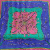 Винтаж handmade. Livemaster - original item Bright shawl of Chinese silk,vintage China. Handmade.