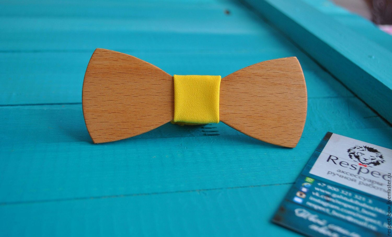 Wooden tie Sunny / wedding in yellow, butterfly groom, Butterflies, Moscow,  Фото №1