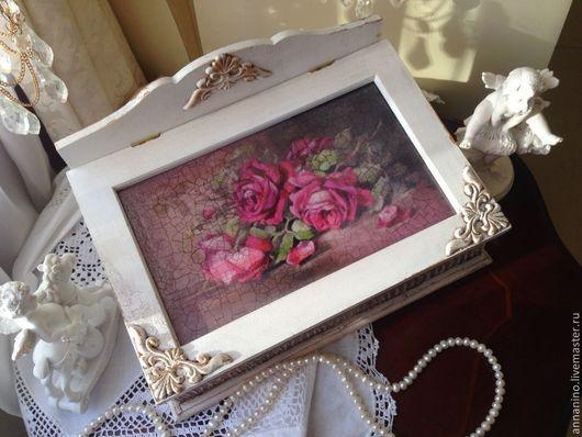 Шкатулки ручной работы. Ярмарка Мастеров - ручная работа. Купить Шкатулка деревянная Викторианская роза. Handmade. Белый