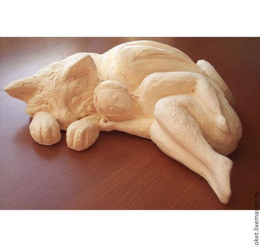 """Статуэтки ручной работы. Ярмарка Мастеров - ручная работа. Купить Статуэтка на заказ """"Ангел и Кот"""" керамическая. Handmade. Белый, коты"""