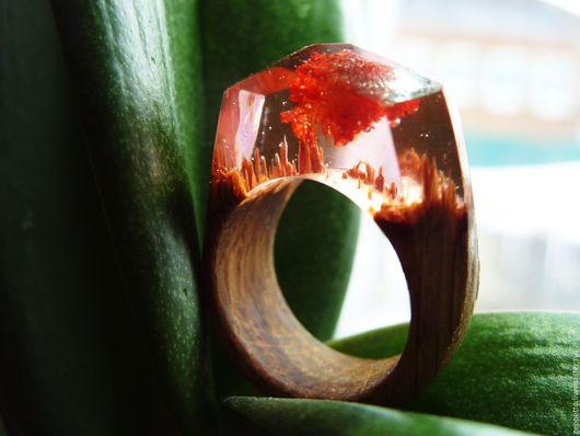 Кольца ручной работы. Ярмарка Мастеров - ручная работа. Купить Деревянное кольцо Закат 17,0-18,0 размер. Handmade.