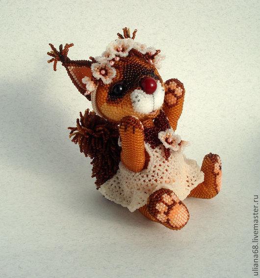 Куклы и игрушки ручной работы. Ярмарка Мастеров - ручная работа. Купить Бисерная игрушка Белочка. Handmade. Рыжий, игрушка из бисера