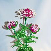 Цветы и флористика ручной работы. Ярмарка Мастеров - ручная работа Хризантема из бисера. Handmade.