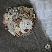 Украшения ручной работы. Ярмарка Мастеров - ручная работа Брошь текстильная В цвете льна. Handmade.