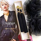 Украшения handmade. Livemaster - original item Sun disc brush earrings black in gold agate silk gilding. Handmade.