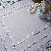 Для дома и интерьера handmade. Livemaster - original item Doily boho hand embroidery unbleached grey linen hemstitch. Handmade.
