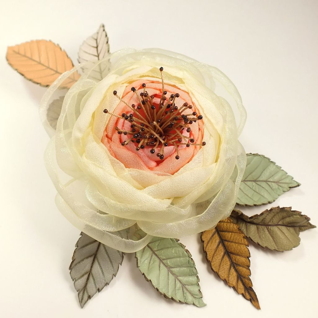 Morning Coral Creek. Brooch made of fabric and natural leather, Brooches, St. Petersburg,  Фото №1