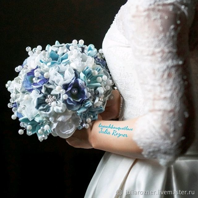 Blue and white brooch bouquet made from beads and pearls. Bouquet ...