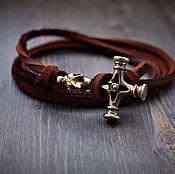 Украшения handmade. Livemaster - original item Bracelet made of genuine leather and bronze. Handmade.