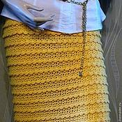 Одежда ручной работы. Ярмарка Мастеров - ручная работа Желтая вязаная прямая юбка. Handmade.