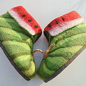 Slippers handmade. Livemaster - original item slippers chuni watermelon. Handmade.