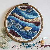 Картины и панно handmade. Livemaster - original item Wave. Abstract panels. Embroidery on the hoop.. Handmade.